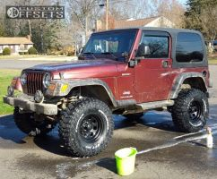 "2003 Jeep Wrangler - 15x8 -19mm - Black Rock 997 - Suspension Lift 4"" - 32"" x 11.5"""