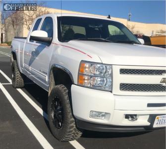 """2011 Chevrolet Silverado 1500 - 18x9 -12mm - Mayhem Warrior - Suspension Lift 3.5"""" - 285/65R18"""