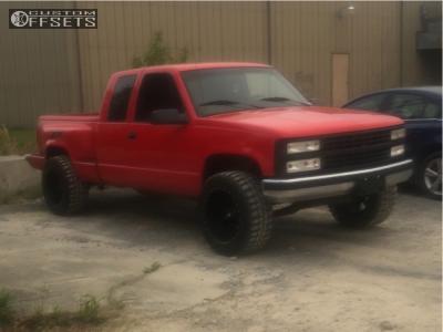 "1995 Chevrolet K1500 - 20x12 -44mm - Red Dirt Road Rd01 - Level 2"" Drop Rear - 33"" x 12.5"""