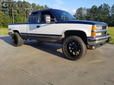 "1995 Chevrolet K1500 - 22x12 -44mm - Mayhem Warrior - Suspension Lift 3"" - 33"" x 12.5"""