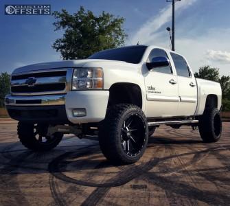 "2009 Chevrolet Silverado 1500 - 22x12 -44mm - Cali Offroad Distorted - Suspension Lift 8"" - 35"" x 12.5"""