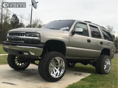 "2002 Chevrolet Tahoe - 22x14 -70mm - American Force Burnout Ss - Suspension Lift 6"" - 35"" x 12.5"""
