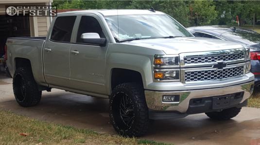 "2015 Chevrolet Silverado 1500 - 22x12 -44mm - Red Dirt Road Twister - Leveling Kit - 33"" x 12.5"""