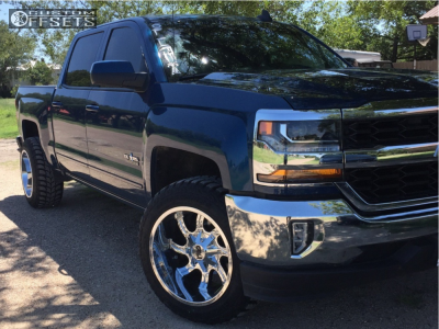 2017 Chevrolet Silverado 1500 - 20x12 -44mm - Cali Offroad Twisted - Leveling Kit - 285/75R20