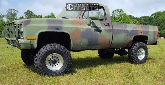 """1984 Chevrolet K30 - 16x10 -25mm - American Racing Outlaw Ii - Suspension Lift 6"""" - 38"""" x 12.5"""""""