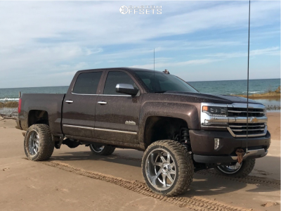 "2016 Chevrolet Silverado 1500 - 22x12 -44mm - American Truxx Vortex - Suspension Lift 8"" - 33"" x 12.5"""