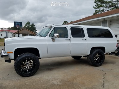 "1991 Chevrolet R1500 Suburban - 20x12 -44mm - Red Dirt Road Vortex - Suspension Lift 4"" - 35"" x 12.5"""