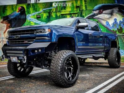 "2017 Chevrolet Silverado 1500 - 24x14 -77mm - Grid GF4 - Suspension Lift 12"" - 38"" x 13.5"""