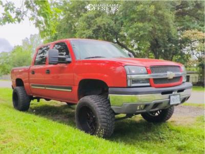 """2004 Chevrolet Silverado 1500 - 20x12 -44mm - Xtreme Mudder Xm-313 - Suspension Lift 6"""" - 33"""" x 12.5"""""""