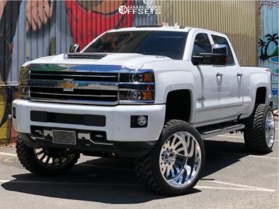 "2018 Chevrolet Silverado 3500 HD - 24x14 -73mm - American Force Octane Ss - Suspension Lift 5"" - 35"" x 13.5"""
