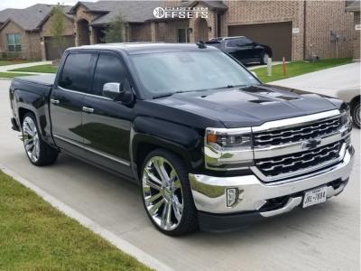2017 Chevrolet Silverado 1500 - 26x10 31mm - Replica Wheels Fr55 - Lowered 2F / 4R - 295/30R26