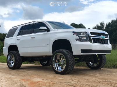 "2017 Chevrolet Tahoe - 22x12 -44mm - Xtreme Force Xf1 - Suspension Lift 7.5"" - 33"" x 12.5"""