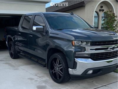 2019 Chevrolet Silverado 1500 - 24x9.5 30mm - Luxxx Alloys Lux18 - Stock Suspension - 305/35R24