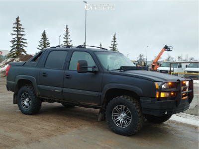 "2005 Chevrolet Avalanche 1500 - 18x8.5 10mm - Black Iron Rebel - Suspension Lift 3"" - 35"" x 12.5"""