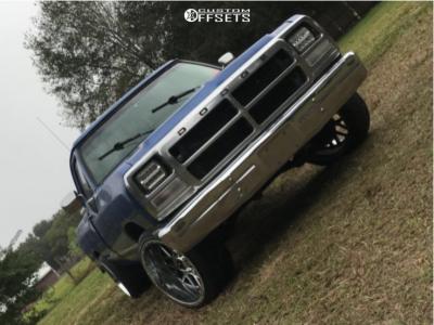 1990 Dodge D250 - 22x12 -44mm - XD Grenade - Stock Suspension - 285/35R22