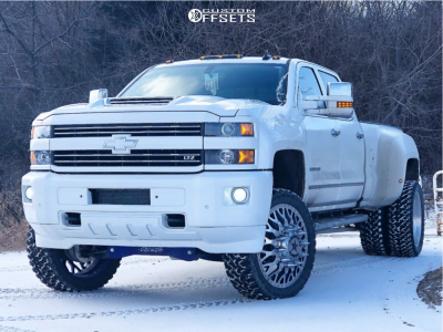 "2019 Chevrolet Silverado 3500 HD - 24x8.25 -169mm - American Force Evo Ss - Suspension Lift 6"" - 0"" x12.5"""