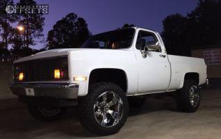 "1986 Chevrolet K10 - 20x12 -44mm - Hostile Hammered - Suspension Lift 3"" - 33"" x 12.5"""