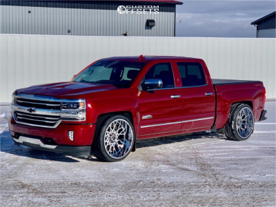 2018 Chevrolet Silverado 1500 - 24x12 -51mm - Vision Rocker - Lowered 4F / 6R - 315/30R24