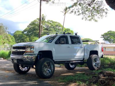 "2017 Chevrolet Silverado 1500 - 24x14 -76mm - Hardcore Offroad Hc13 - Suspension Lift 8"" - 345/50R24"