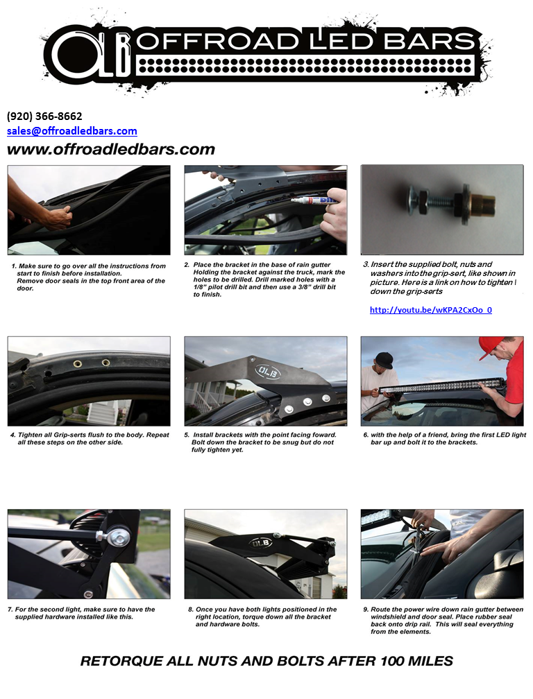 Custom offsets install instructions for 50 light bar with offroad roof mount install sheet updated aloadofball Images