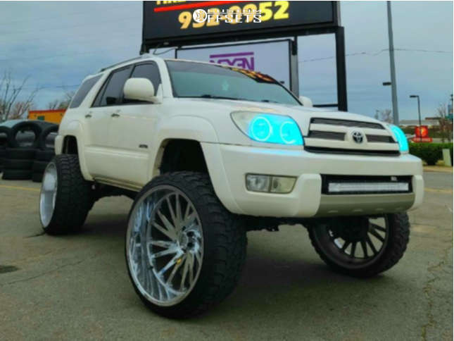"""2003 Toyota 4Runner Hella Stance >5"""" on 26x14 -72 offset Tuff T2a and 35""""x13.5"""" Fury Offroad Country Hunter Mt on Suspension Lift 7.5"""" - Custom Offsets Gallery"""