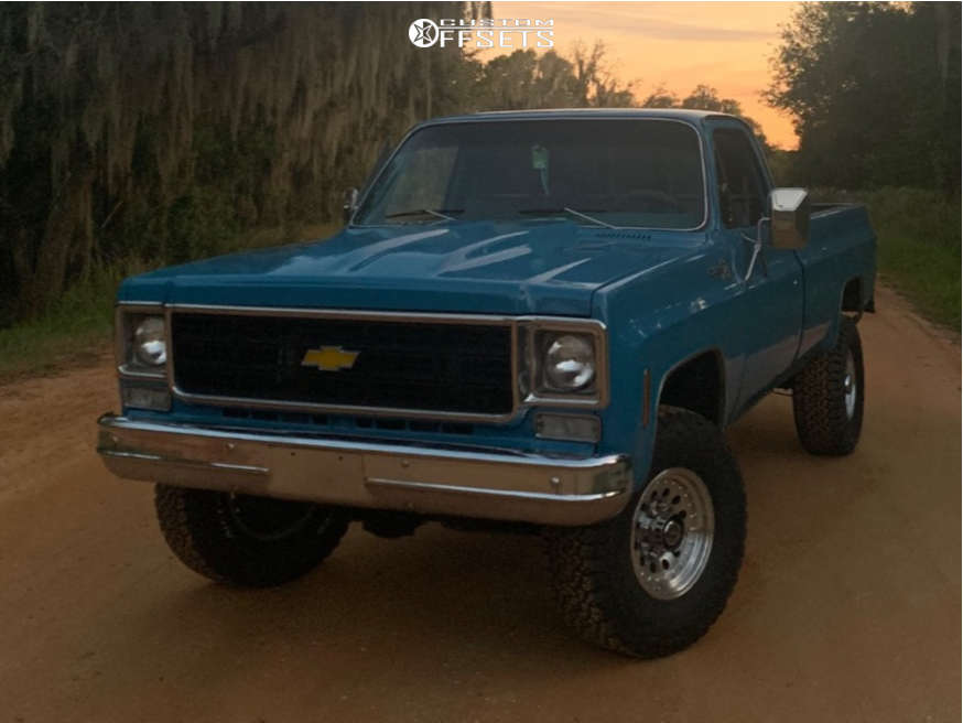 """1978 Chevrolet K20 Pickup Slightly Aggressive on 17x8 0 offset American Racing Outlaw Ii and 315/70 Goodyear Wrangler Ht on Suspension Lift 3"""" - Custom Offsets Gallery"""