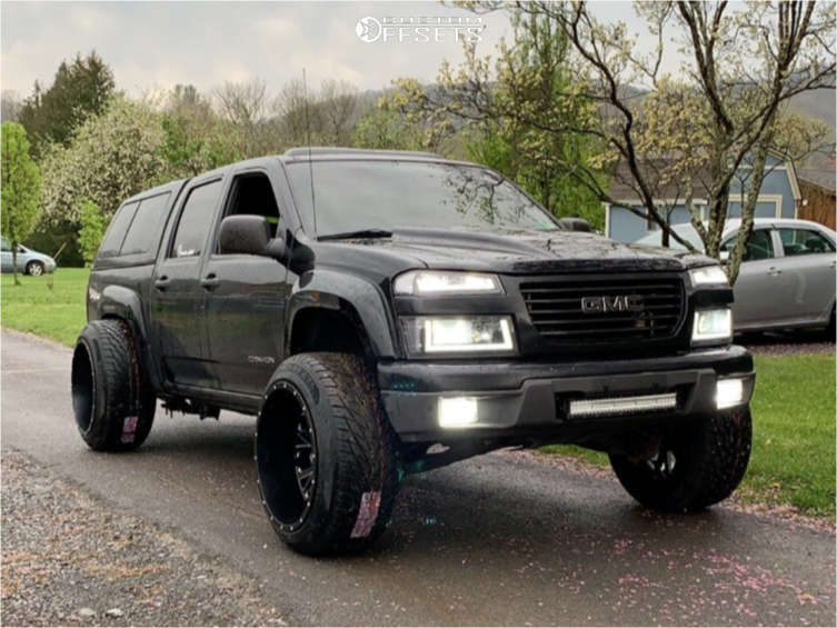 """2005 GMC Canyon Hella Stance >5"""" on 22x14 -76 offset Cali Offroad Americana & 305/40 Toyo Tires Proxes S/t on Level 2"""" Drop Rear - Custom Offsets Gallery"""