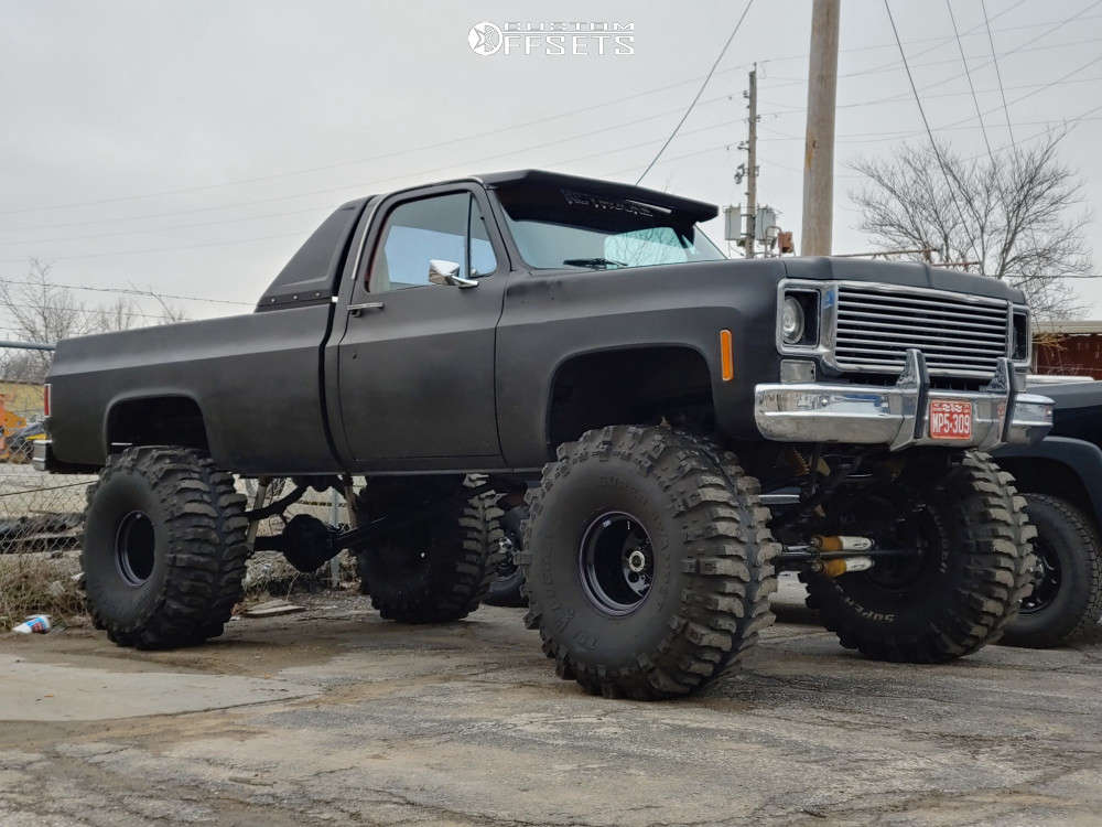 "1977 Chevrolet K10 Pickup Hella Stance >5"" on 15x14 -80 offset Bart Super Trucker & 44""x19.5"" Super Swamper Tsl Bogger on Suspension Lift 12"" - Custom Offsets Gallery"