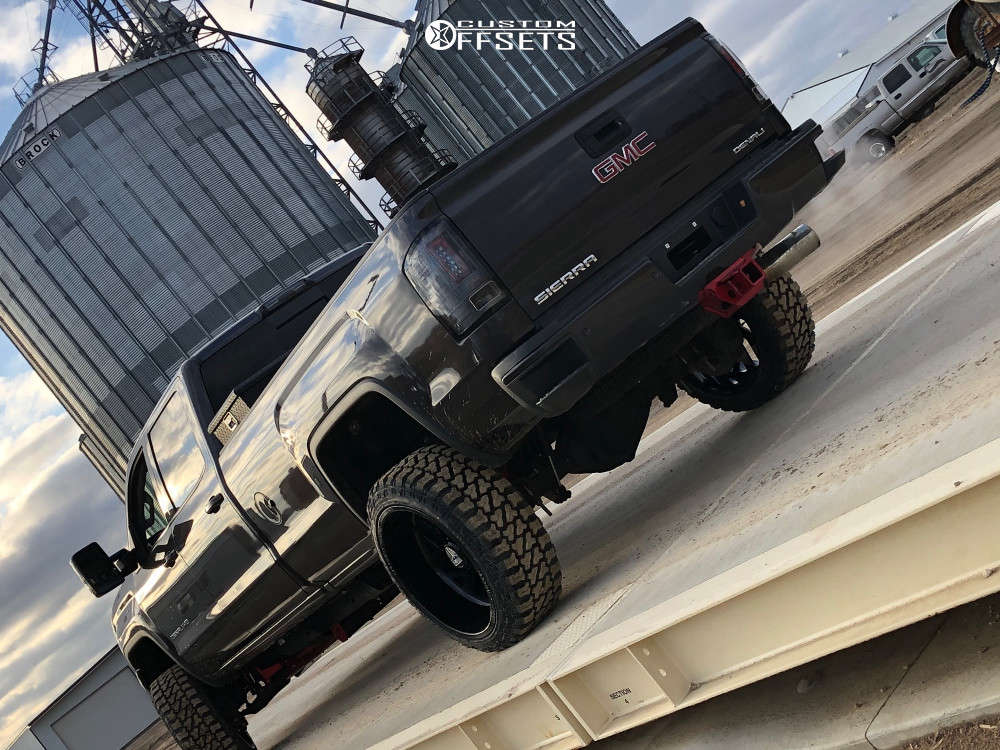 """2016 GMC Sierra 3500 HD Super Aggressive 3""""-5"""" on 24x12 -44 offset Specialty Forged Sf014 & 35""""x12.5"""" Fury Offroad Country Hunter Mt on Suspension Lift 4"""" - Custom Offsets Gallery"""