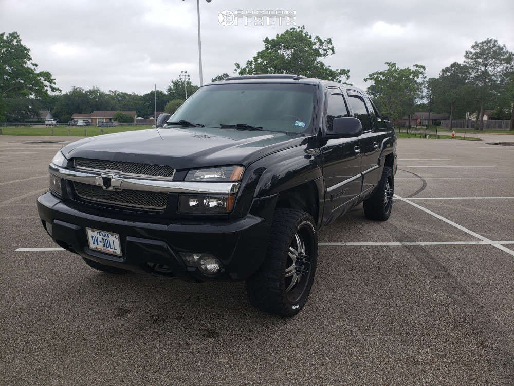 """2003 Chevrolet Avalanche 1500 Slightly Aggressive on 22x10 15 offset Pasati PA-160 & 33""""x12.5"""" Fury Offroad Country Hunter Mt on Leveling Kit - Custom Offsets Gallery"""