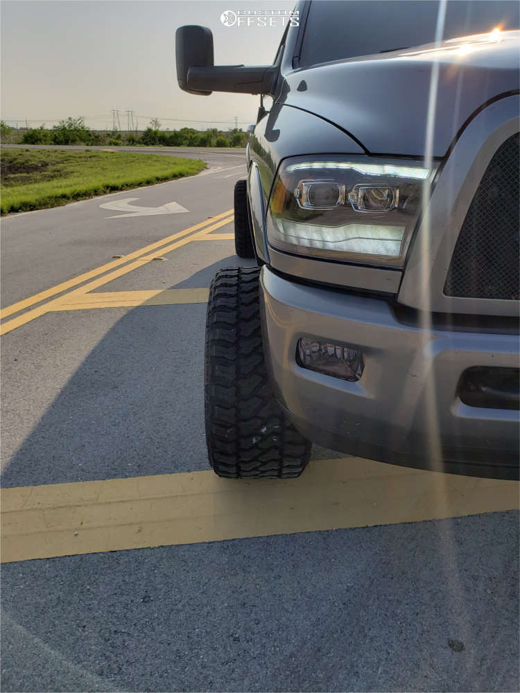"""2012 Ram 3500 Hella Stance >5"""" on 22x14 -76 offset Hostile Jigsaw & 33""""x14.5"""" Fury Offroad Country Hunter Mt on Suspension Lift 4.5"""" - Custom Offsets Gallery"""