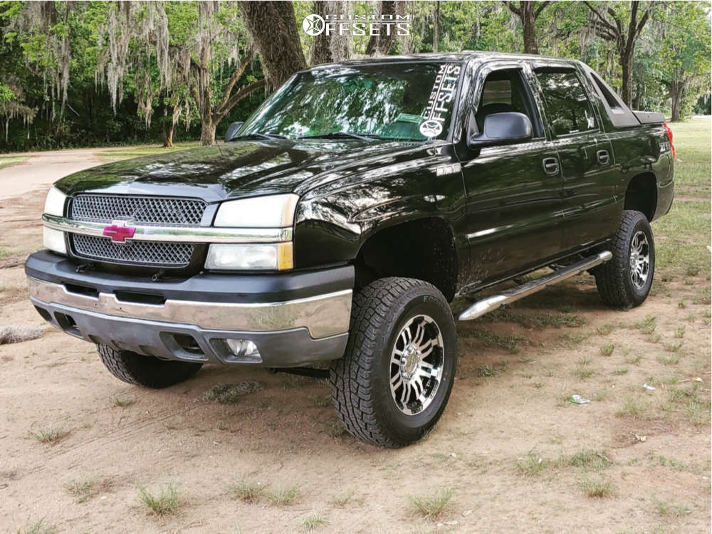 """2003 Chevrolet Avalanche 1500 Aggressive > 1"""" outside fender on 17x8.5 18 offset Vision Warrior & 265/70 Travelstar Ecopath on Suspension Lift 6"""" - Custom Offsets Gallery"""