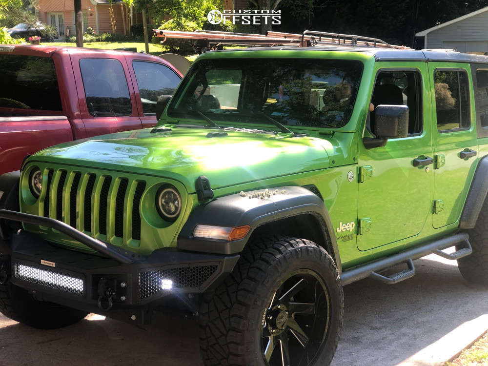 """2018 Jeep Wrangler JK Aggressive > 1"""" outside fender on 20x10 -25 offset ARKON OFF-ROAD Lincoln and 33""""x12.5"""" Nitto Ridge Grappler on Stock Suspension - Custom Offsets Gallery"""
