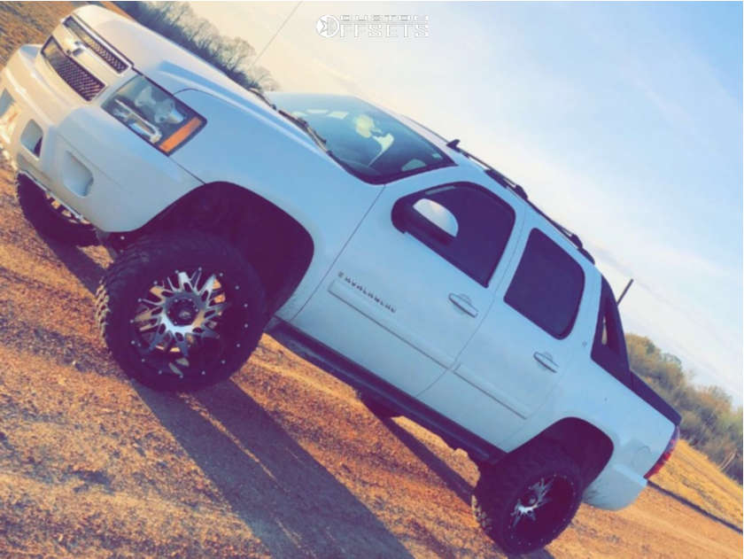 """2008 Chevrolet Avalanche 1500 Super Aggressive 3""""-5"""" on 22x12 -44 offset American Truxx Dna & 33""""x12.5"""" Suretrac Wide Climber M/t on Suspension Lift 7.5"""" - Custom Offsets Gallery"""