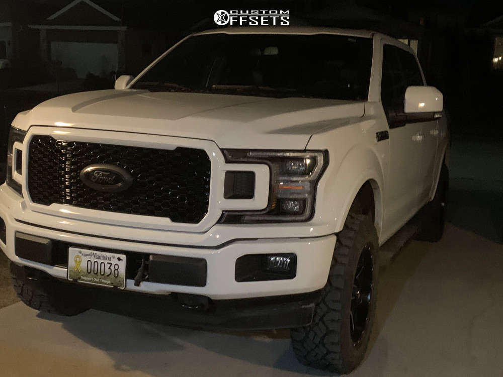 """2020 Ford F-150 Aggressive > 1"""" outside fender on 20x9 1 offset Fuel Maverick and 285/60 Goodyear Wrangler Duratrac on Leveling Kit - Custom Offsets Gallery"""