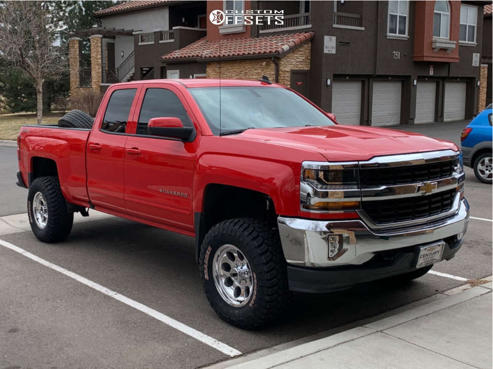 """2016 Chevrolet Silverado 1500 Aggressive > 1"""" outside fender on 17x9 -12 offset Mickey Thompson Classic & 33""""x12.5"""" General Grabber X3 on Suspension Lift 4"""" - Custom Offsets Gallery"""