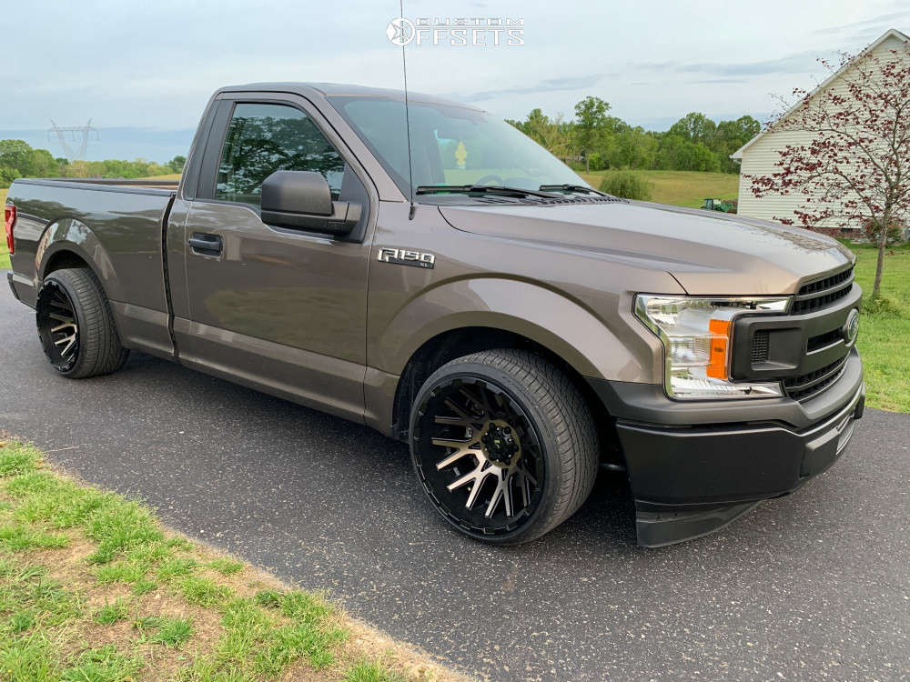"""2018 Ford F-150 Super Aggressive 3""""-5"""" on 20x12 -44 offset V-Rock Recoil and 285/30 Continental Extremecontact Dws06 on Lowered 4F / 6R - Custom Offsets Gallery"""