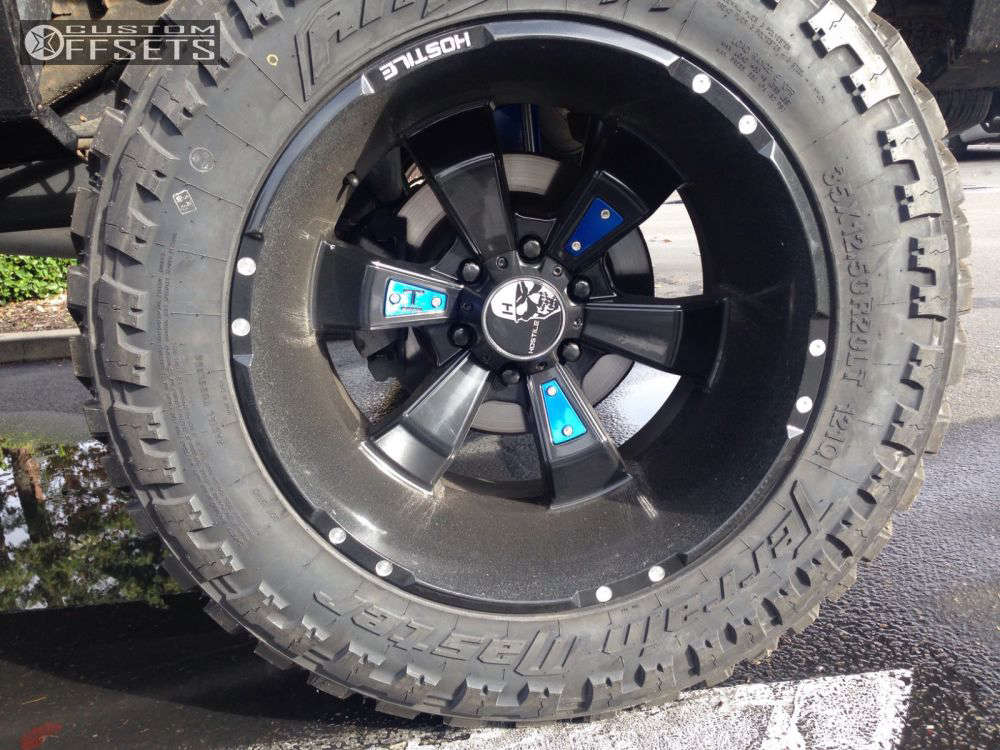 """2009 Chevrolet Silverado 1500 Aggressive > 1"""" outside fender on 20x12 -44 offset Hostile Hammered and 35""""x12.5"""" Amp Terrain Master MT on Suspension Lift 9"""" - Custom Offsets Gallery"""