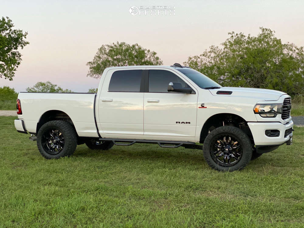 """2020 Ram 2500 Super Aggressive 3""""-5"""" on 22x10 -18 offset Fuel Sledge and 325/50 Nitto Ridge Grappler on Leveling Kit - Custom Offsets Gallery"""