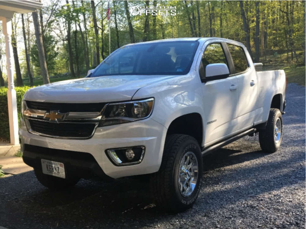 "2019 Chevrolet Colorado Aggressive > 1"" outside fender on 17x9 -12 offset Raceline Shift & 265/75 Firestone Destination At2 on Suspension Lift 3.5"" - Custom Offsets Gallery"