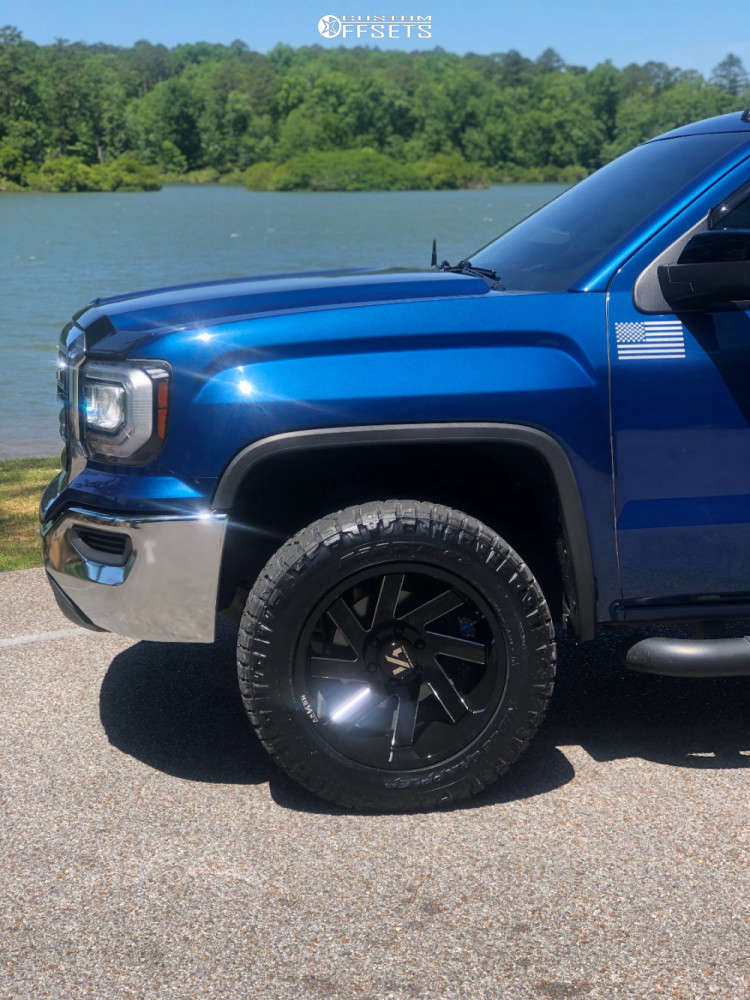 """2016 GMC Sierra 1500 Aggressive > 1"""" outside fender on 20x10 -25 offset ARKON OFF-ROAD Lincoln and 275/60 Nitto Ridge Grappler on Leveling Kit - Custom Offsets Gallery"""