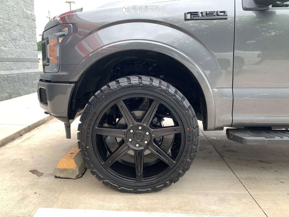 """2020 Ford F-150 Flush on 24x10 30 offset Centerline Rev 7 841 & 35""""x12.5"""" Road One Atheon Mtx on Leveling Kit - Custom Offsets Gallery"""