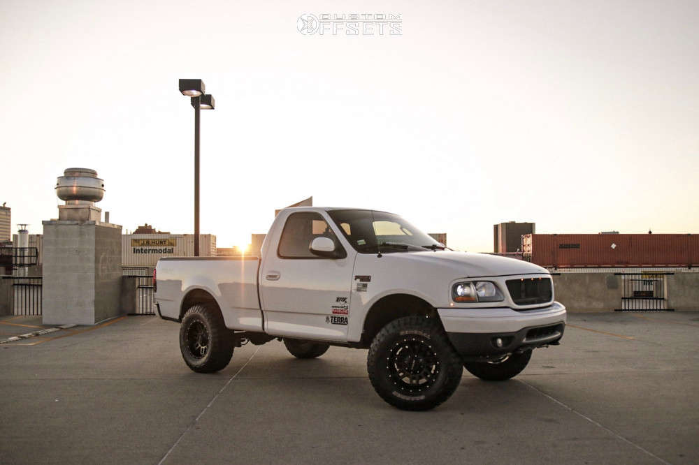 """2003 Ford F-150 Slightly Aggressive on 17x9 -12 offset Raceline Injector & 295/70 General Grabber X3 on Suspension Lift 5.5"""" - Custom Offsets Gallery"""