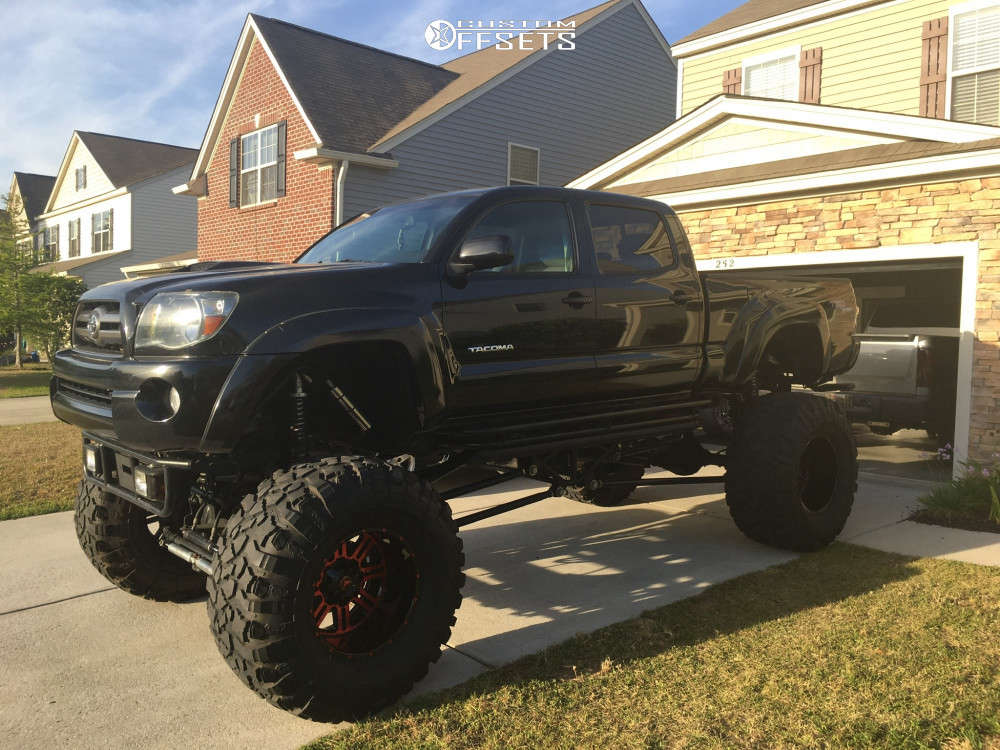 """2009 Toyota Tacoma Hella Stance >5"""" on 20x14 -76 offset American Offroad A106 & 44""""x15.5"""" Pitbull Rocker on Lifted >12"""" - Custom Offsets Gallery"""