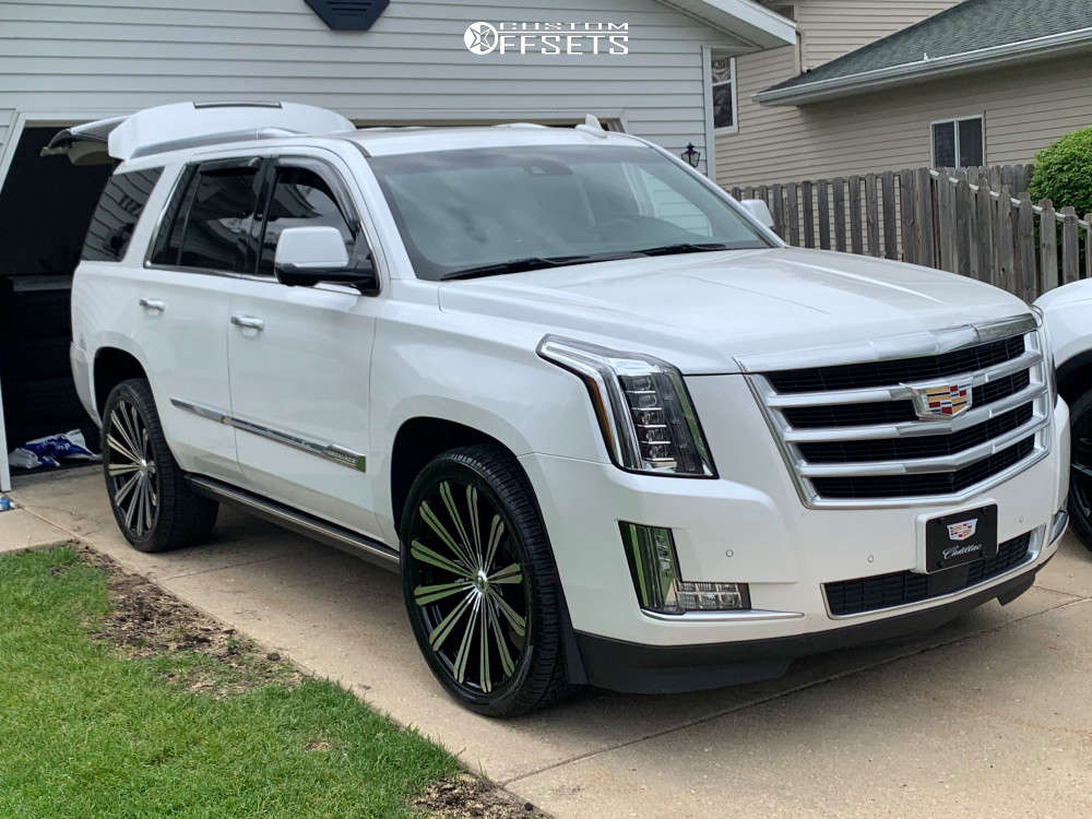 """2016 Cadillac Escalade Aggressive > 1"""" outside fender on 24x9.5 30 offset Elure 30 and 275/30 Delinte D8 Desert Storm on Stock Suspension - Custom Offsets Gallery"""