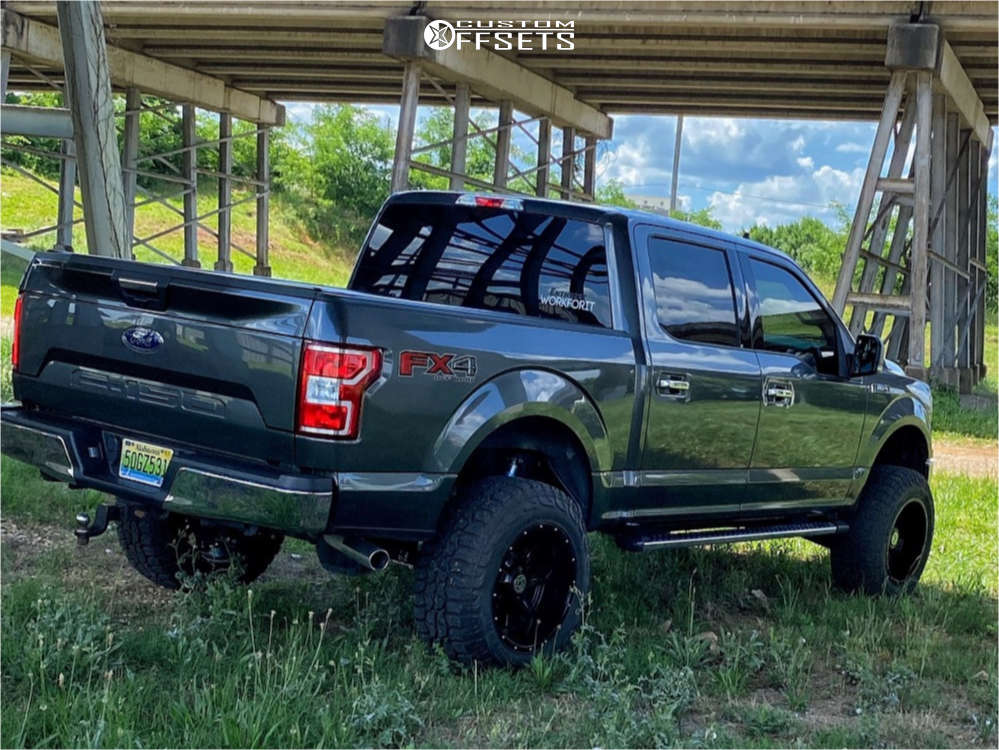 """2019 Ford F-150 Aggressive > 1"""" outside fender on 20x12 -44 offset Anthem Off-Road Instigator and 35""""x12.5"""" Federal Xplora Rt on Suspension Lift 6"""" - Custom Offsets Gallery"""