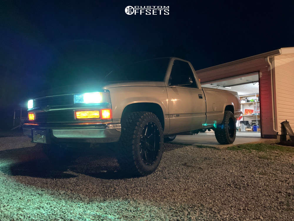 """1999 Chevrolet C2500 Slightly Aggressive on 20x10 -19 offset Alloy Ion 141 and 33""""x12.5"""" Atturo Trail Blade Mt on Stock Suspension - Custom Offsets Gallery"""