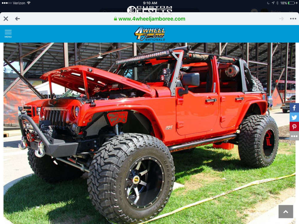 "2012 Jeep Wrangler JK Hella Stance >5"" on 20x14 -76 offset Fuel Maverick & 40""x15.5"" Nitto Mud Grappler on Suspension Lift 4.5"" - Custom Offsets Gallery"