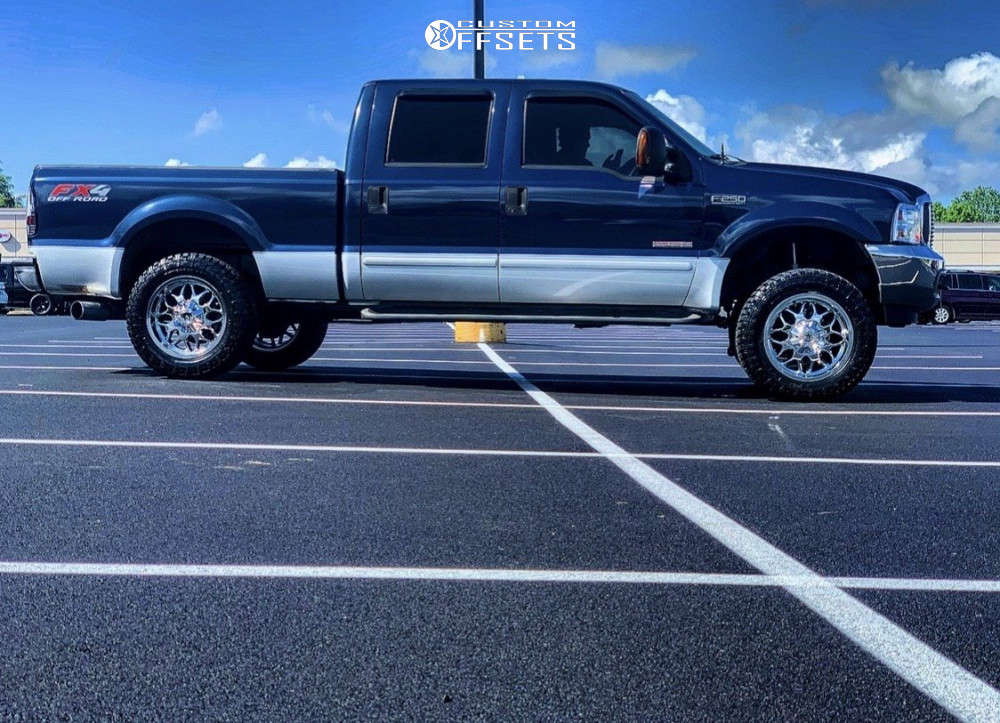 """2003 Ford F-250 Super Duty Aggressive > 1"""" outside fender on 20x9 -12 offset RBP 73r and 285/60 Radar Renegade Rt on Leveling Kit - Custom Offsets Gallery"""