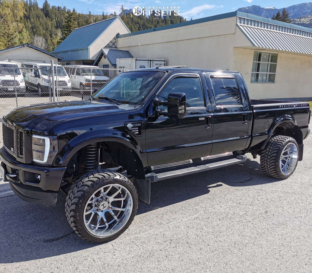 """2010 Ford F-350 Super Duty Hella Stance >5"""" on 24x14 -76 offset Hostile Rage and 35""""x13.5"""" AMP Mud Terrain Attack Mt A on Suspension Lift 4.5"""" - Custom Offsets Gallery"""